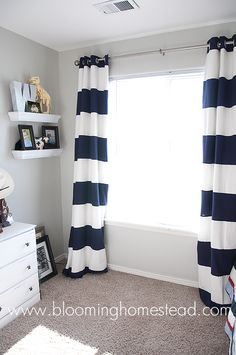 Striped Curtains {How To} - Blooming Homestead --- for Elliot's new room Home Improvement Projects, Home Projects, Sewing Projects, Home Decoracion, My New Room, Diy Home Decor, Bedroom Decor, Bedroom Ideas, House Design