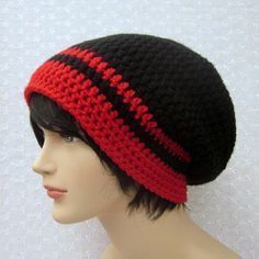 c9c56c71f0be3c Black Slouchy Crochet Hat Mens Slouch by ColorMyWorldCrochet Crochet Hats  For Boys, Crocheted Hats,
