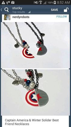 Captain America and the Winter a Soldier best friend necklaces -- I need this.