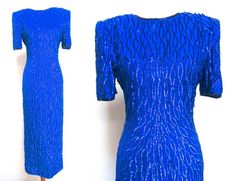 Long Blue Sequin Gown by VolereVintage on Etsy, $110.00