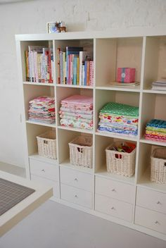 IKEA expedit, with drawers in the bottom.l need this for my sewing room Sewing Room Storage, Sewing Room Organization, Craft Room Storage, My Sewing Room, Fabric Storage, Craft Rooms, Storage Ideas, Storage Solutions, Organization Ideas
