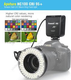 Aputure HC100 CRI 95+ Amaran Halo LED Universal Macro Ring Flash light For Canon Nikon Pentax Cameras ($40.99) by free shipping!