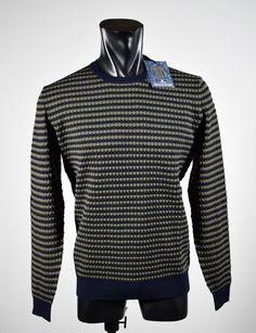 Sweater round neck ocean Star Slim fit fancy workmanship made in Italy