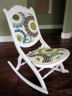 Revamped rocking chair...wonder if I can do something like this to my antique rocker my great-grandpa made?
