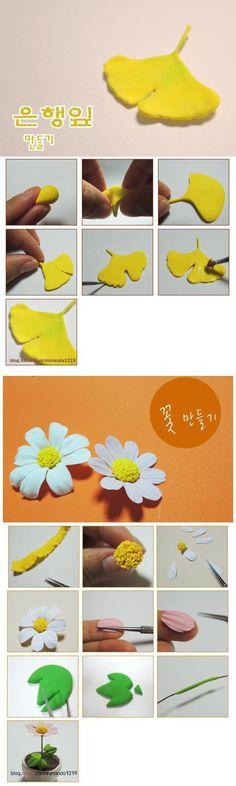 DIY Ginko Leaf and Daisy Flower