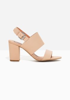 & Other Stories image 1 of Heel Strap Leather Sandalette in Beige