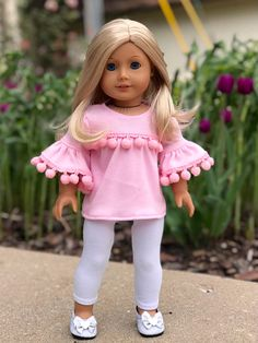 Sweet Pea - 18 Inch Doll Clothes - 3 Piece Outfit - Tunic, Leggings and Boots (Doll Not Included) My American Girl Doll, American Girl Clothes, Girl Doll Clothes, Girl Dolls, Doll Making Tutorials, American Girl Accessories, Doll Home, Crop Top Outfits, 18 Inch Doll