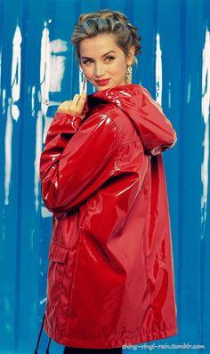 Vinyl Rain Red Raincoat, Vinyl Raincoat, Plastic Raincoat, Rubber Raincoats, Hooded Cloak, Raincoats For Women, Rain Wear, Lady In Red, Nice Dresses