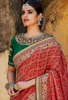 SAREE: Art Silk BLOUSE: Art Silk WORK: Embroidery, motif & cut work border COLOUR: Green and red TYPE: Semi stitched SIZE: Adjustable up to 42 SHIPPING &am