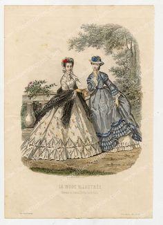 La Mode Ilustree plates 1865 | Détails sur Fashion Mode illustrée Robes Chapeaux Gravure 19e