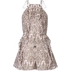 Zimmermann Henna Tie Strap Romper (695 CAD) ❤ liked on Polyvore featuring jumpsuits, rompers, kirna zabete, shop all, brown romper, brown halter top, playsuit romper, colorful jumpsuit and halter-neck tops