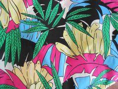 Fabric Vintage 1970s Tropical Polynesian Hawaiian print Fabric NOS 1970s