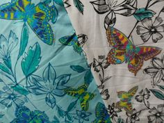 Image of Flutter in White or Aqua  - Butterfly Print Jersey