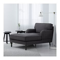STOCKSUND Chaise longue, Nolhaga dark grey, black/wood - Nolhaga dark grey - black - IKEA