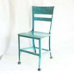 Vintage chair - steel - metal - angled steel - industrial - blue green - light blue