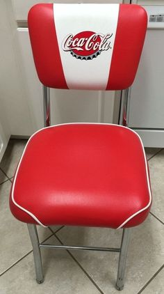Coke Coca Cola Straight Back Chair Red Vinyl Chrome Style Look Kitchen Art Coca Cola Drink, Coke Ad, Pepsi, Coca Cola Kitchen, Best Soda, Coca Cola Santa, Always Coca Cola, World Of Coca Cola, Cars