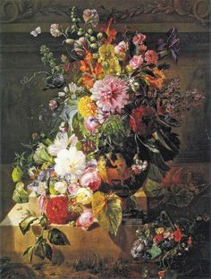 "Georgius Jacobus Johannes van Os (Dutch, 1782-1861), ""Still life with roses, peonies, lilac, morning glories and other flowers in a greek vase on a stone plinth"""
