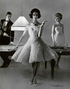 Lanvin-Castillo, 1961, goes easily from cocktails to luxurious tea length wedding dress.
