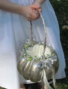 Silver Pumpkin Basket by justanns on Etsy
