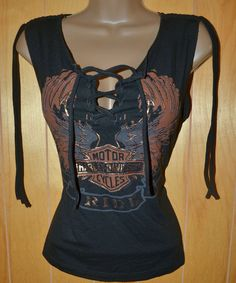 Harley Davidson M/L Lace Up Front Copper Winged B & S Tank Top Shirt in Clothing, Shoes & Accessories, Women's Clothing, Tops & Blouses | eBay
