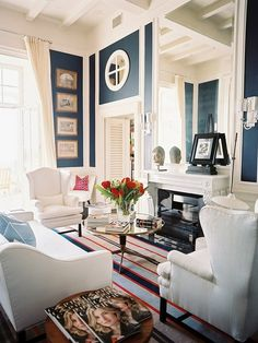 Navy blue and white || interior design by Michele Bonan