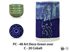 This 100% mixable celadon glaze is a deep, glossy cobalt blue that pools and accents textured ware like the ancient glazes they are created to imitate.  Due to the powdered nature of the materials involved with the dry-mix dipping buckets of this product, their respective health information and labels differ from the brushing glazes.