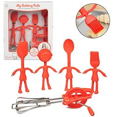 Kids Baking Set  5 Pc Cooking Utensil Tool Set w Real Spatula Spoon Measuring Cup Brush and Child Friendly Mixer *** Continue to the product at the image link.-It is an affiliate link to Amazon. #KitchenUtensils