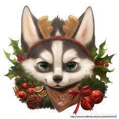 Christmas husky by Silverfox5213.deviantart.com