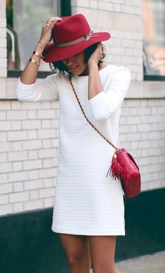 White Short Dress With Maroon Hat and Crossbody Bag