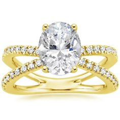 Oval Cut Bisou Diamond Engagement Ring - 18K Yellow Gold
