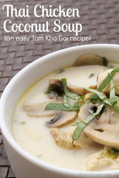 chicken coconut thai soup easy tom kha gai Thai Chicken Coconut Soup Easy Tom Kha GaiYou can find Thai coconut soup and more on our website Chicken Coconut Soup, Coconut Soup Recipes, Thai Coconut Soup, Thai Chicken, Chicken Recipes, Coconut Oil, Garlic Chicken, Healthy Chicken, Asian Recipes