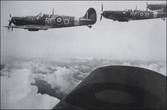 "Superb picture of Spitfires Mk Vb's of 303 Sqn enroute to Dieppe - 19 August 1942.  On left Spitfire Mk Vb RF*D - pilot Sq/ldr Jan ""Johnny"" Zumbach  Photo: From the Sikorski's Institute"