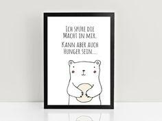 Originaldruck: Bild mit süßem Teddy und lustigem Spruch für Deine Wohndeko / print: poster with cute teddy bear and funny saying for your home decor made by PrintsEisenherz via DaWanda.com