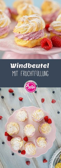 Cream puffs with fruit filling / choux pastry basic Windbeutel mit Fruchtfüllung / Brandteig Basic Rezept Delicious cream puffs with a fruity filling! Profiteroles, Eclairs, Great Desserts, Healthy Dessert Recipes, Smoothie Recipes, Cake Recipes, Fruit Recipes, Breakfast Party Foods, Sully Cake