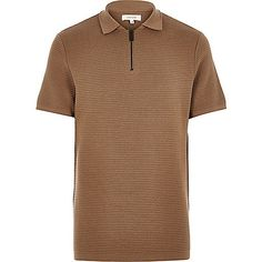 Light brown textured zip neck polo shirt - sweaters - sweaters / cardigans - men