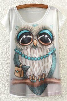 Buy KaiTingu 2017 New Fashion Vintage Spring Summer T Shirt Women Clothing  Tops Animal Owl Print T-shirt Printed White Woman Clothes . 73b6a6cc6cf1