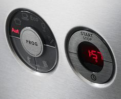 Asko dishwasher, led and physical buttons.