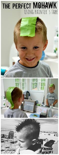 Who knew Frog Tape was so helpful? How to Cut a Perfect Mohawk using Frog Tape! (and some room makeover ideas too!) my sister needed this a long time ago. Little Boy Mohawk, Boys Mohawk, Little Boys, Kids Cuts, Boy Cuts, Faux Hawk, High Fade, Bald Fade, Fashion Styles