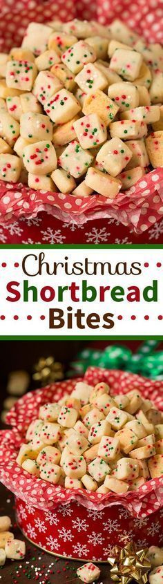 The BEST Christmas Cookies, Fudge, Candy, Barks and Brittles Recipes – Favorites for Holiday Treats Gift Plates and Goodies Bags! Christmas Shortbread Bites Recipe via Cooking Classy - The most pop-able fun to eat cookies out there! Holiday Cookies, Holiday Baking, Christmas Desserts, Holiday Treats, Holiday Recipes, Christmas Sprinkles, Christmas Recipes, Easter Desserts, Holiday Gifts