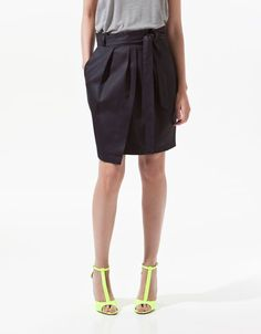 LINEN FRONT-PLEATED SKIRT - Skirts - Woman - ZARA United States $49.90