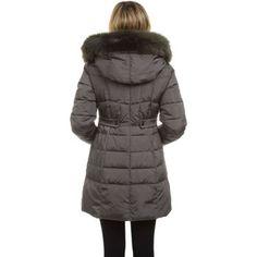 1 Madison Ladies' Down Coat with Faux Fur Hood and Inner Vest-Gunmetal