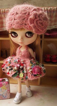 Heavy Work Sexy Pink Blythe Crochet Mink Yarn Dress With Hat | Doll Apparel…