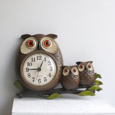 1972 Owl Wall Clock by Burwood