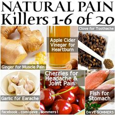 Turmeric (chronic pain)  Flax Seed (breast pain / soreness)  Horseradish (sinus) Tomato Juice (leg cramps)  Blueberries (bladder infections) Honey (mouth sores) Water (injuries) Coffee (migraines) Ginger (muscle pain) Apple Cider Vinegar (heartburn) Clove (toothache) Garlic (earache) Cherries (headache / joint pain) Fish (stomach pain) Grapes (back pain) Yogurt (prevents PMS) Oats (Endrometrial) Salt (foot pain) Pineapple (digestive upsets) Peppermint (muscle pain) Ginger (muscle pain)