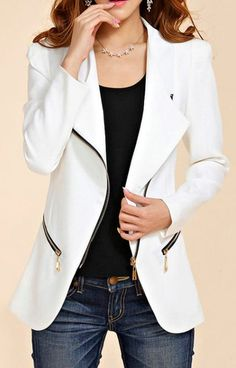 Stylish Turn-Down Collar Solid Color Zip Embellished Long Sleeve Blazer For Women Cargo Jacket Mens, Grey Bomber Jacket, Green Cargo Jacket, Leather Jacket, Preppy Business Casual, Work Fashion, Fashion Outfits, Fashion Ideas, Mens Fashion