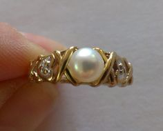 Vintage 10K Yellow Gold Pearl Diamond Ring by TrendyTreasures1, $95.00 #Vintage #Ecochic #TeamLove