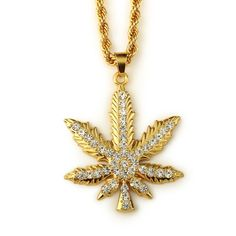 Maple leaf pendants & necklaces for men and women 18K gold plated Hip Hop Style zinc alloy crystal rhinestones
