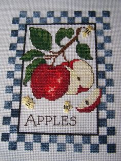 Completed Cross Stitch,Embroidery, Hand Stitched, Blue Check and Apple Sampler, Kitchen Wall Art, Decor