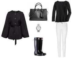 fall look with hunter boots