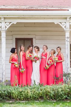 coral pink bridesmaids